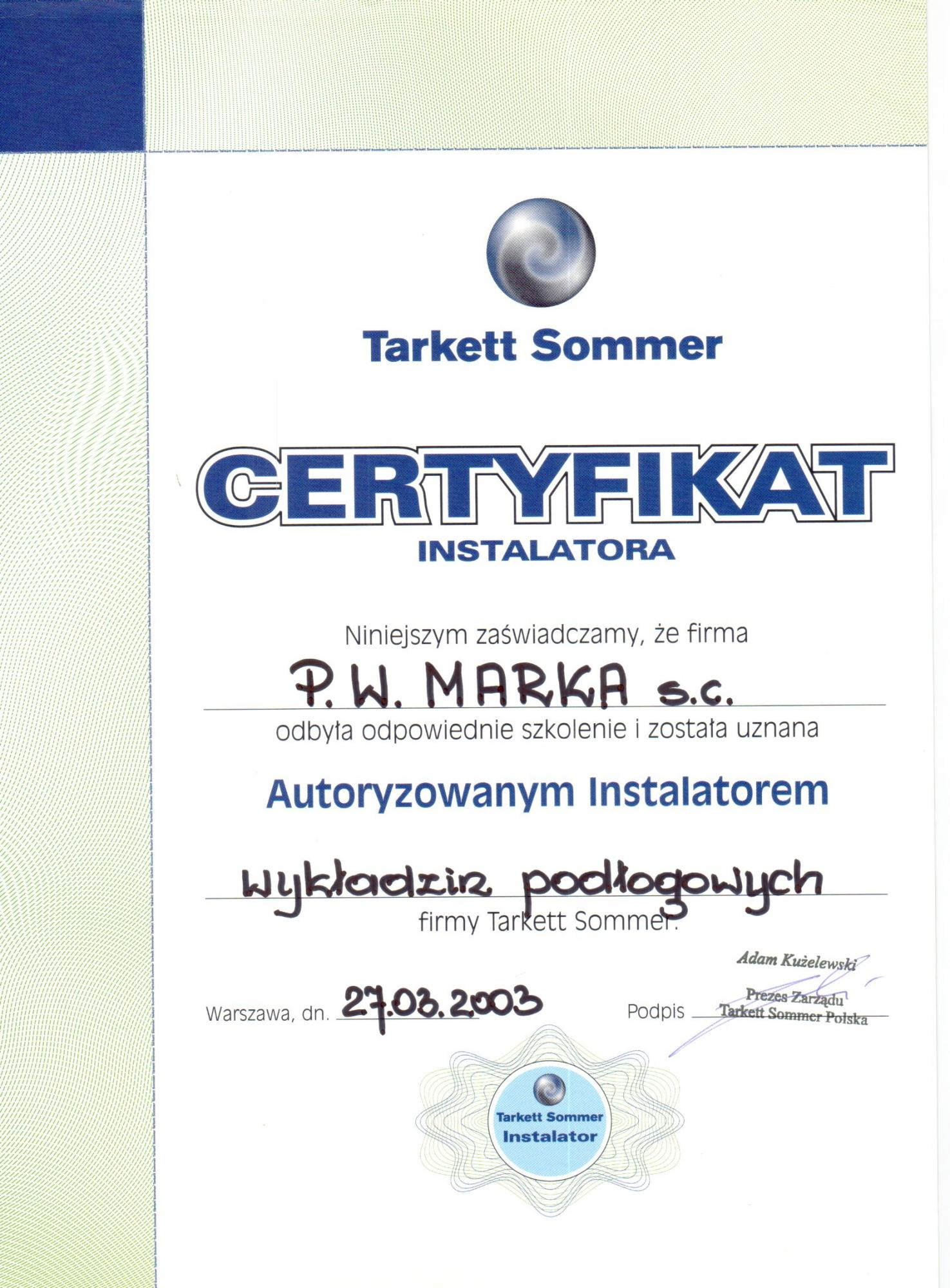 autoryzacja tarkett 2003