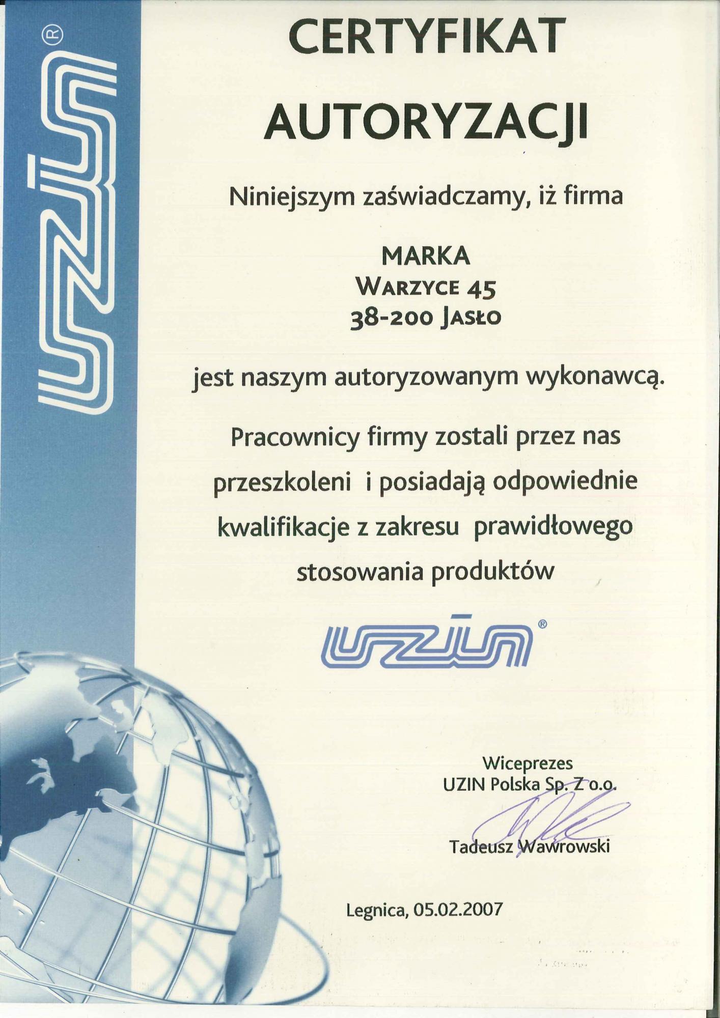 Autoryzacja UZIN 2007