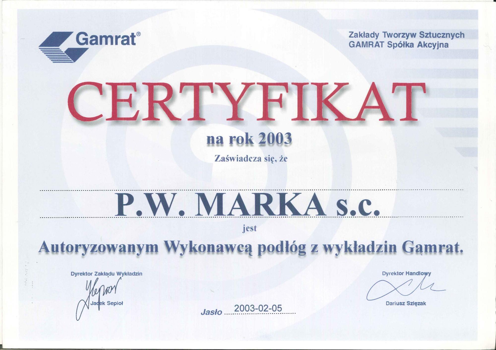 Certyfikat gamrat 2003
