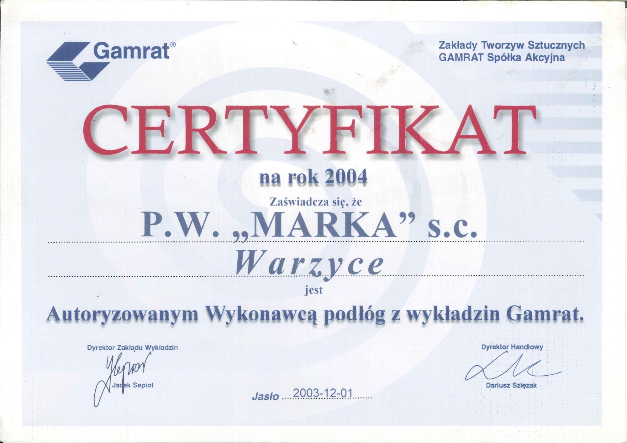 Certyfikat Gamrat 2004