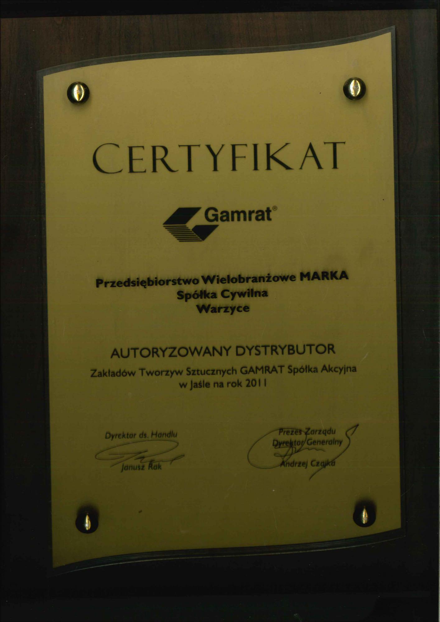 Certyfikat Gamrat 2011