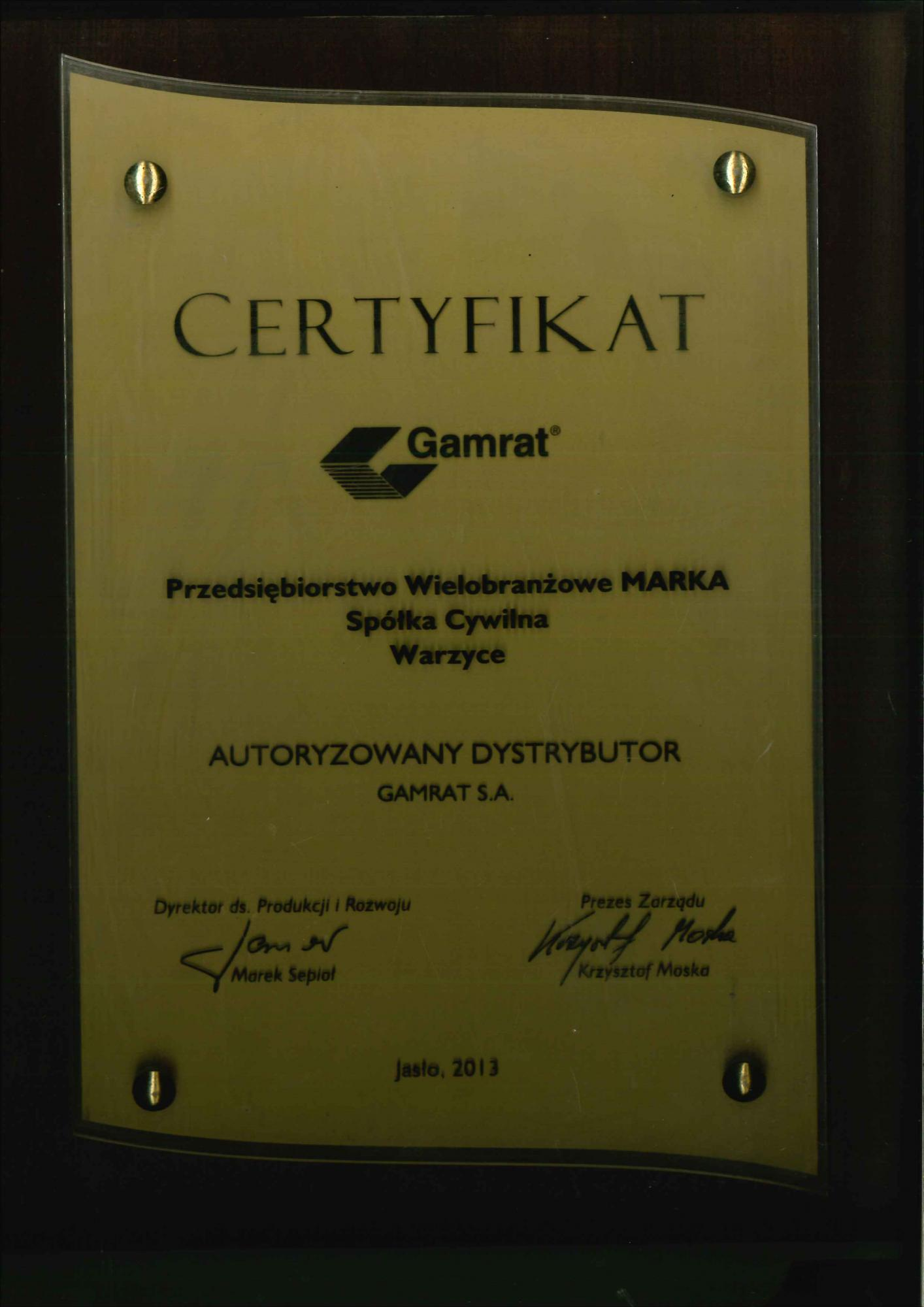 Certyfikat gamrat 2013