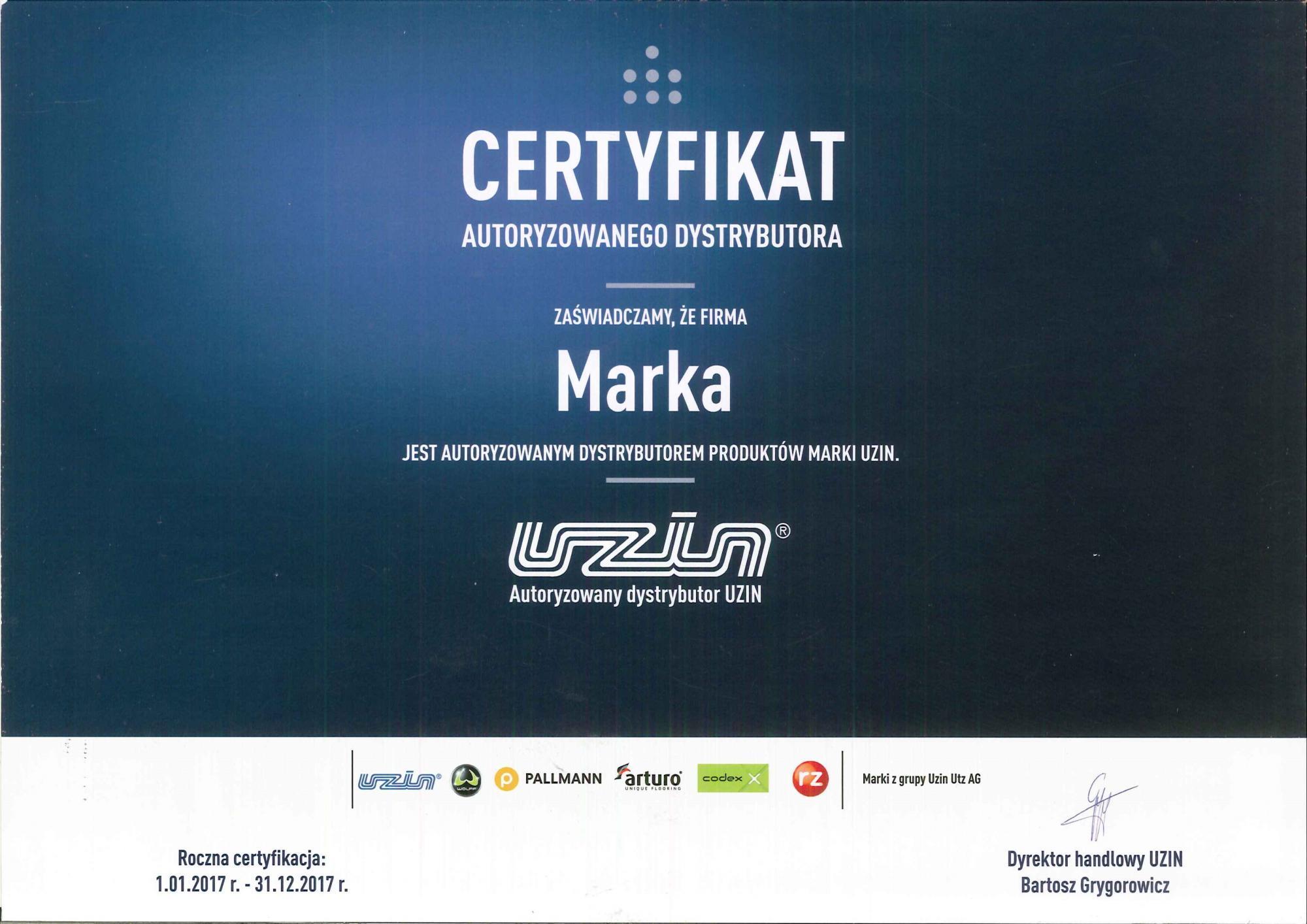 Certyfikat Uzin 2017