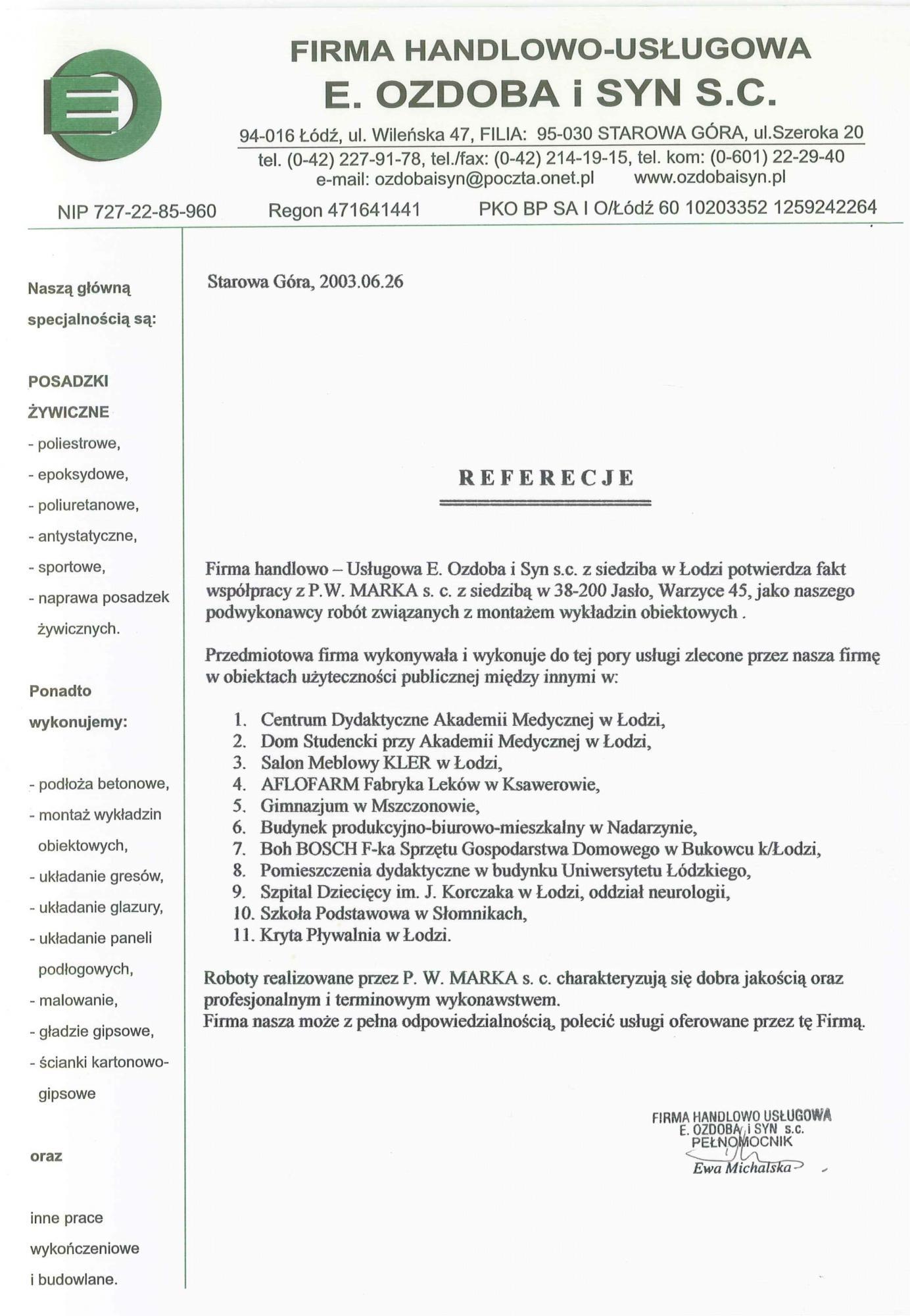 Referencje Ozdoba 2003
