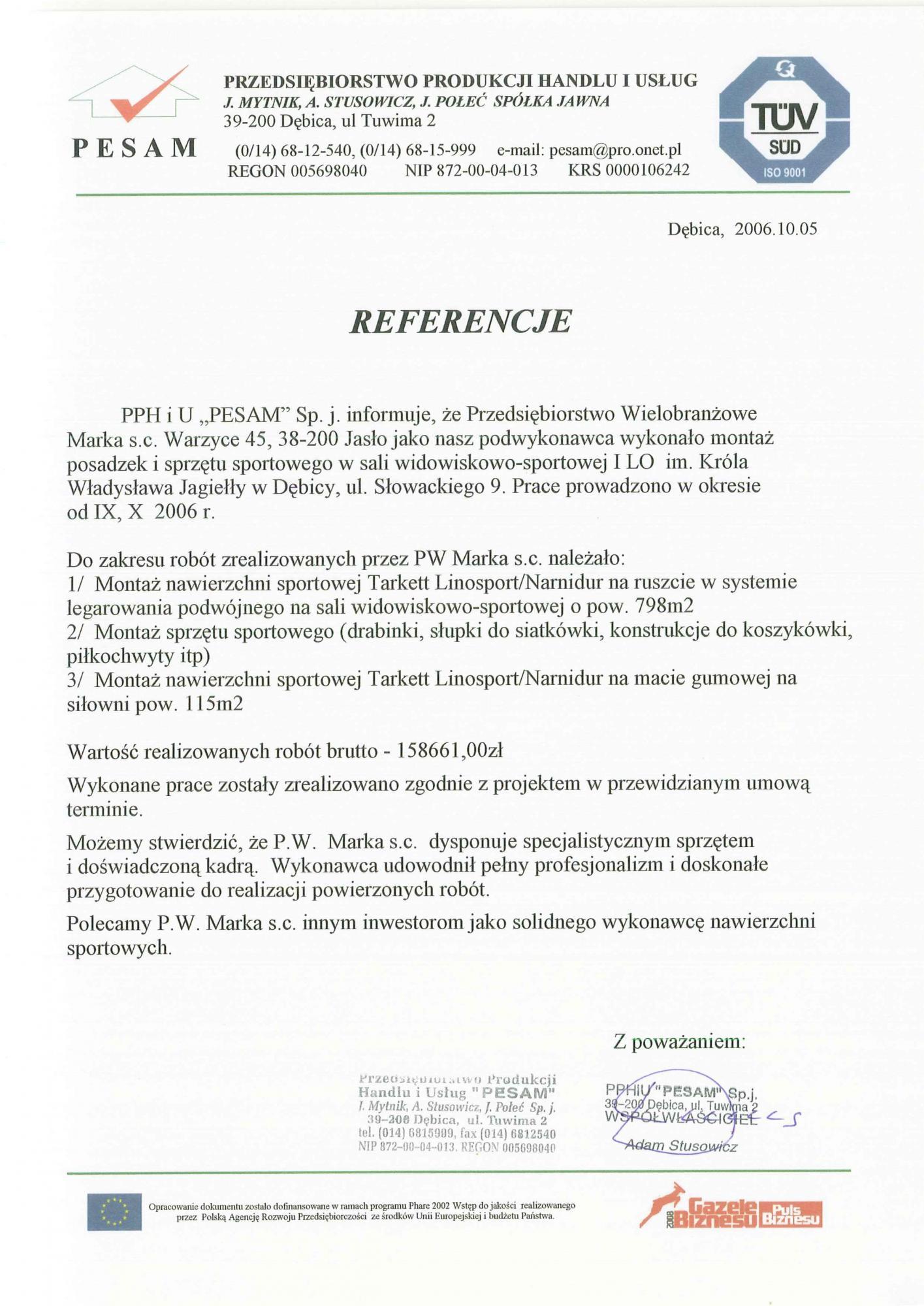 Referencje Pesam 2006