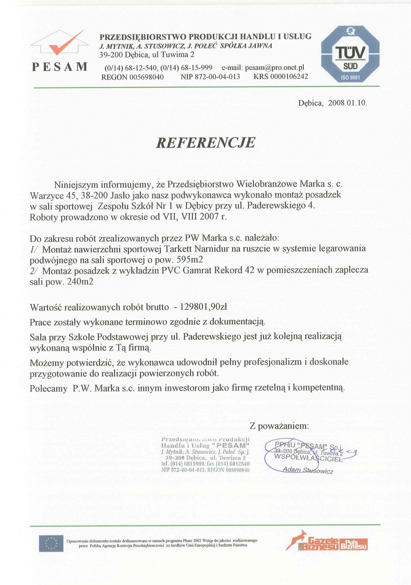 Referencje Pesam 2008