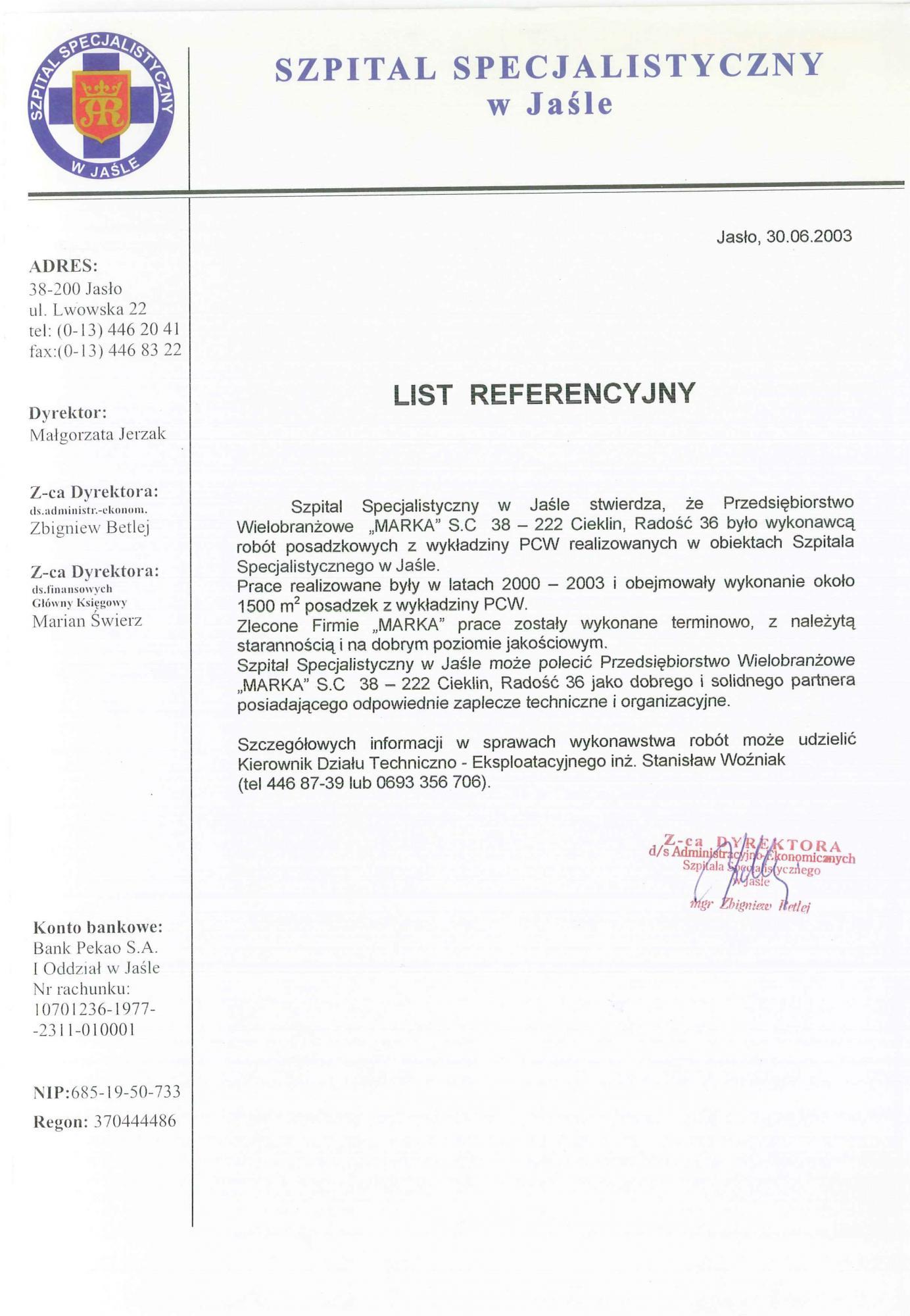 Referencje ZOZ Jasło 2003